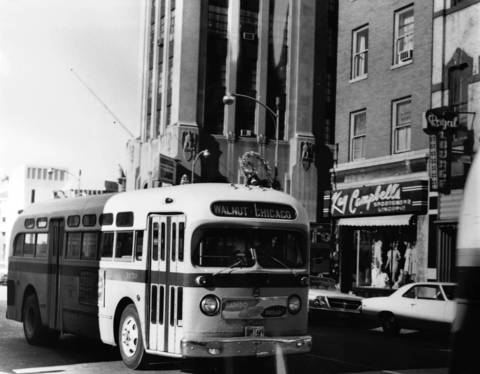 Nov. 28, 1967: This photo shows an Elgin City Line bus at the corner of Chicago Street and Douglas Avenue.