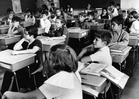 Sept. 19, 1969: Students at St. Joseph's School in Elgin listen to a presentation by a Vietnam veteran.