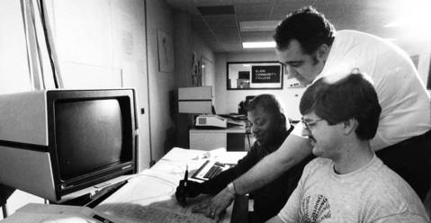June 26, 1983: Instructor Jim Resser helps students Bill Edwards, left, and Tim Nolley at Elgin Community College.