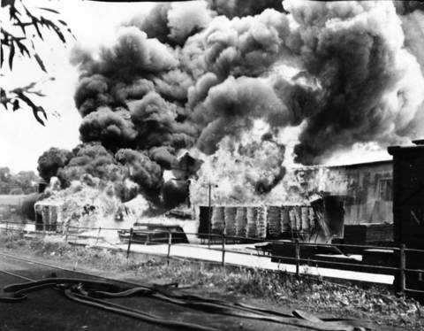 June 22, 1938: The W.R. Meadows company in Elgin burns after an explosion injured five employees and two firefighters.