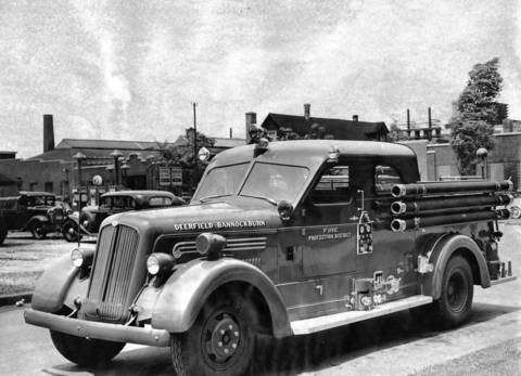 July 5, 1945: After purchasing this new truck for the Deerfield-Bannockburn Fire Protection District, Fire Chief Conrad Uchtman drove it to its new home from Columbus, Ohio. Photo taken July 5, 1945.