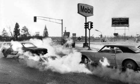 Jan. 6, 1970: Exhaust from cars is more visible in the cold weather, which was minus 10.
