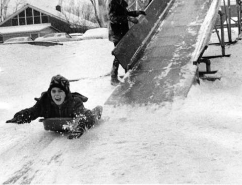 Jan. 16, 1971: Eddie Kenny, 9, enjoys the snow at Jewett Park in Deerfield.