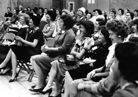 "Nov. 9, 1961: According to the original caption, ""Deerfield gals talk it up"" during a school meeting."