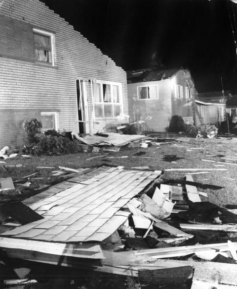 April 20, 1966: Damaged homes along Birchwood Lane in the Valley View subdivision after a tornado ripped through the street. The estimated damage was $400,000.