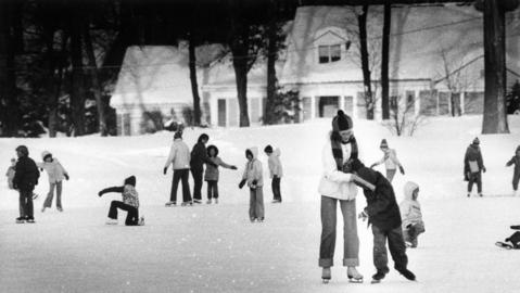 Jan. 31, 1979: Families enjoy ice skating at Lake Ellyn. The original caption states that this is one of the best kept skating rinks in the area. It's the size of two football fields and is swept and polished each night.