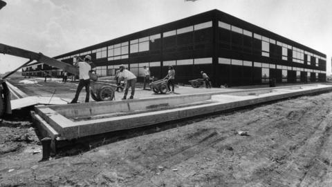 June 12, 1973: A building under construction at the College of DuPage boasts two floors above ground and steel that never needs refinishing.