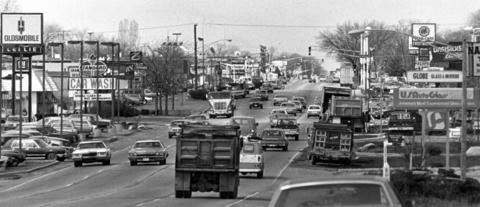 April 19, 1983: Looking west along Roosevelt Road in the Glen Ellyn business district.
