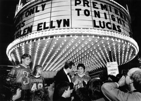 "March 28, 1986: Glenbard West students who were extras in David Seltzer's film ""Lucas"" are interviewed by local cable TV broadcaster, Joe Meyers, at the movie's premiere in Glen Ellyn."