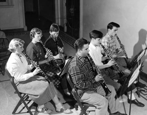 Dec. 2, 1950: Members of the Highland Park High School band practice on Dec. 2, 1950.