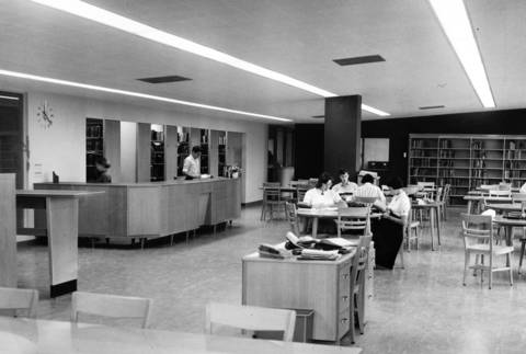 "Nov. 3, 1955: This Nov. 3, 1955 photo shows the ""new"" library at Highland Park High School."