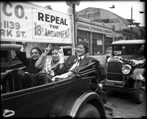 "Anna Smith, from left, Betty Brown and Margaret Chapman ride in the National Repeal Week ""wet parade"" in support of repealing the 18th Amendment on May 16, 1932. The parade was put on by the Women's Organization for National Prohibition Reform."
