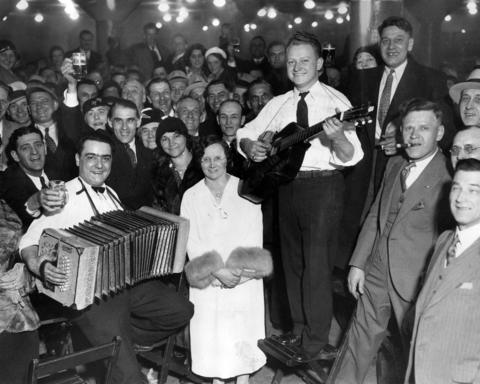 The city of Milwaukee held Volkfest on April 17, 1933 in celebration of the end of Prohibition. More than 15,000 attended the festival, which was centered in the city's auditorium but spilled out onto the streets.
