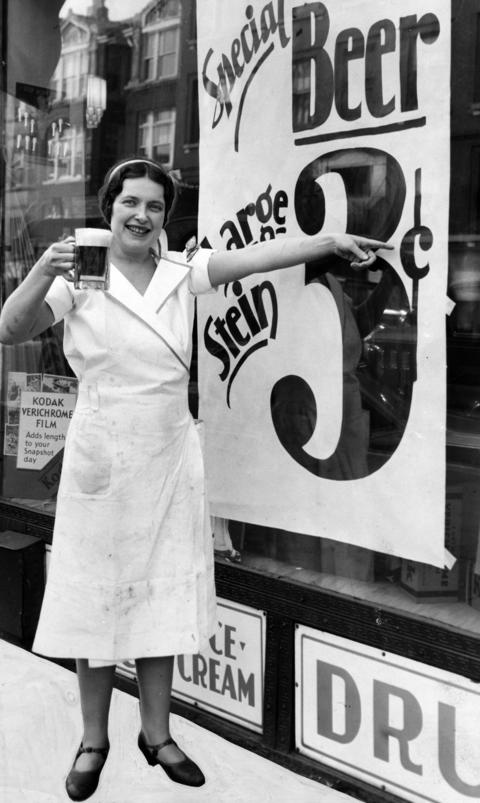 With a competitor offering nickel beers, Joan Griswold tried to lure drinkers with three-cent steins at her drug store bar in May of 1933.