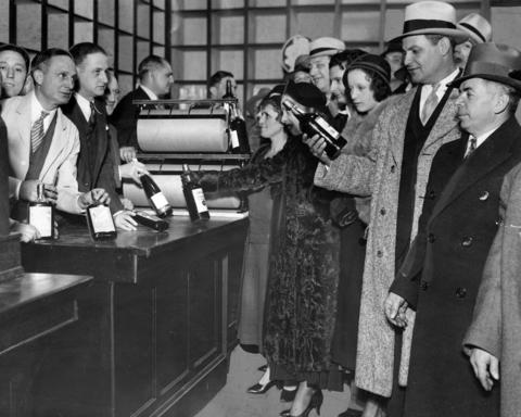 Patrons line up to purchase bottles of liquor to take home at the Old Rose Distillery Company.