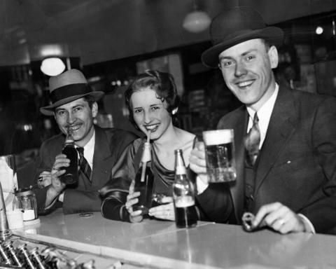 Patrons at a Walgreens store soda fountain enjoy the first 3.2 percent beers in April 1933 after Prohibition was repealed.