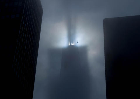 An afternoon fog surrounds the John Hancock Center.