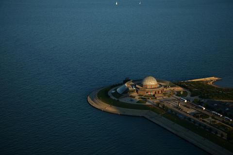 The sun begins to set on Adler Planetarium.