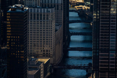 An aerial view of the South Branch of the Chicago River.
