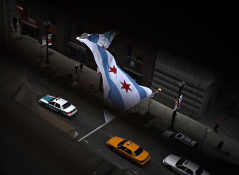 The Chicago city flag flies outside City Hall on LaSalle Street.