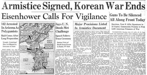 The three-year Korean War, which began in June 1950 when communist North Korea attacked South Korea, ended with the signing of an armistice agreement between the United States, China, North Korea and South Korea. More than 30,000 Americans were killed and almost 100,000 were wounded.