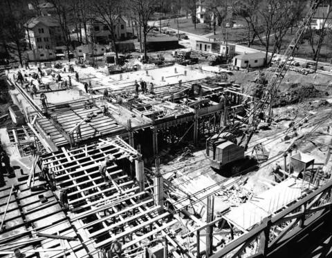 April 24, 1952: Crews work on an expansion to Hinsdale Hospital, originally called the Hinsdale Sanitarium, on April 24, 1952.