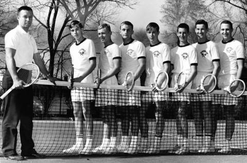 April 27, 1964: Hinsdale tennis coach Jay Kramer poses with his team on April 27, 1964.