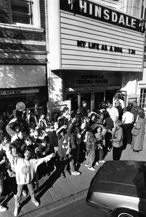 "Oct. 7, 1987: Junior High students line up outside the Hinsdale Theater to for a private screening on ""Big Shots"" on Oct. 7, 1987. The movie was filmed in the village."
