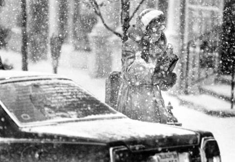Dec. 6, 1983: The first snow storm of the 1983 winter season blankets the downtown Hinsdale area.