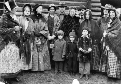 "April 4, 1935: Descendants of early pioneers pose for a photo during a ""Founder's Day"" celebration in Elgin."