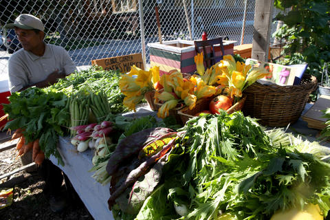Produce on sale at the Thursday farmers market.