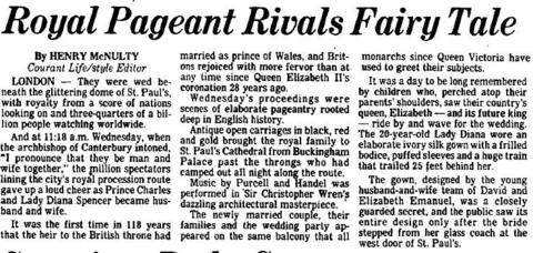 Prince Charles and Lady Diana exchanged vows at St. Paul's Cathedral in London on July 29, 1981. The 20-year-old bride wore a gown with a 25-foot train. There were an estimated 750 million people watching the wedding worldwide.