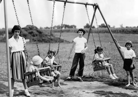 Aug. 4, 1953: Families play at Grennan Heights play yard, a community sponsored park in Niles.