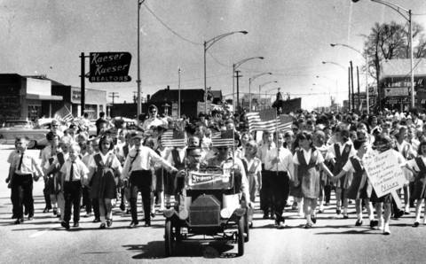 "April 1, 1965: Children march in a celebration honoring Niles' selection as an ""All-American City."""
