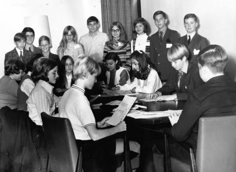 "Nov. 6, 1969: Youths who will be village board members during a ""Mayor for a Day"" program are briefed on their duties."