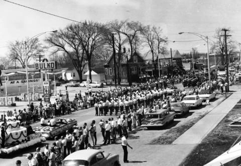 "April 1, 1965: Marchers celebrate Niles being named an ""All-American City."""