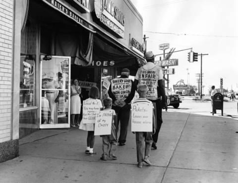 Aug. 8, 1964: Kathy, Kenny and Gregg Maier picket in defense of their father while union members protest against Maier's Bakery in Niles.