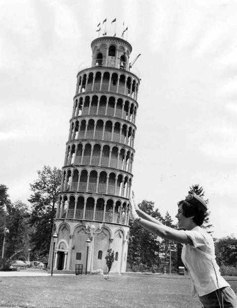 "June 17, 1968: A woman, only identified as Mia, ""holds up"" the Leaning Tower of Niles."