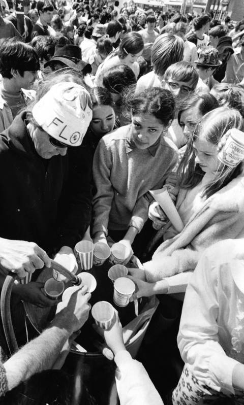 May 3, 1970: Participants in an anti-hunger fundraising march take a break in Niles to quench their thirst.