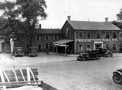 June 10, 1931: The original Pre-Emption House at Main Street and Chicago Avenue in Naperville. Built in 1831, it was one of President Lincoln's favorite stops and one of the oldest taverns in the United States.
