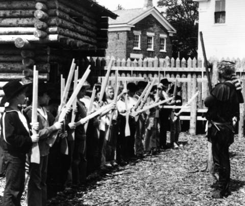 April 4, 1984: Children re-enact 19th century activities at Naper Settlement. More than 62,000 guests were expected to tour the grounds that year.