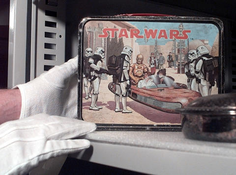 Noc. 3, 1999: A Stars Wars lunch box at the Pre-Emption House is among memorabilia from every decade of the 1900s.