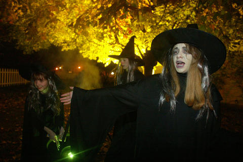 Oct. 25, 2003: Left to right: Jenna Marko, Laurie DelCarlo and Natalie Anderson at the first All Hallow's Eve at Naper Settlement.