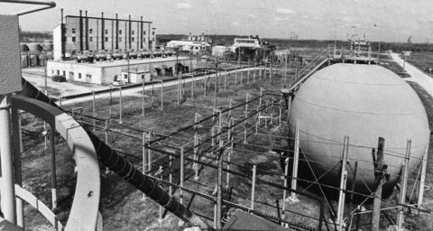 April 1, 1984: A giant sphere used to store ammonia, an ingredient in the manufacture of TNT, is part of the Joliet Army Ammunition Plant complex. Sitting unused since shutting down in 1975, Joliet Mayor John Bourg hoped the facility may again provide jobs for the area's unemployed.