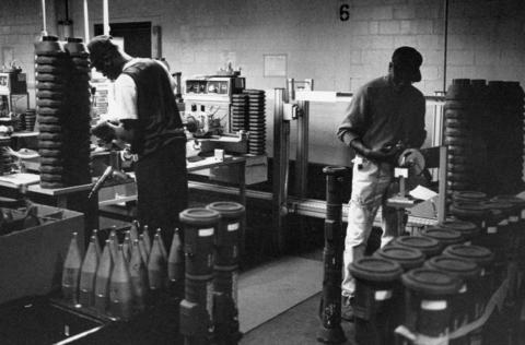 Jan. 21, 1991: Workers at the Joliet Army Ammunition Plant assemble the M87-AT4 recoiless rocket. The weapon is capable of penetrating 16 inches of armor plate before exploding.