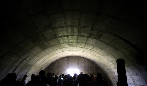 May 23, 2009: A tour group examines the interior of an ammunition bunker on the site of the former Joliet Arsenal.