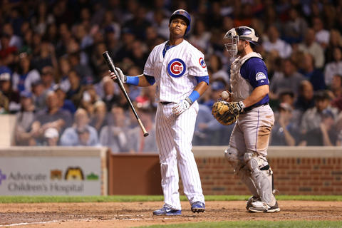 Starlin Castro reacts after striking out in the sixth inning.