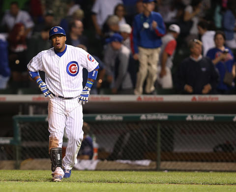 Luis Valbuena reacts after flying out to end the game in the 10th inning.