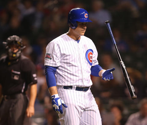 Anthony Rizzo walks back to the dugout after striking out in the 10th inning.