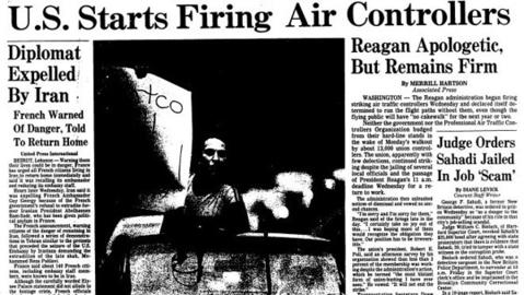 The Reagan administration began firing more than 11,000 striking air traffic controllers on Aug. 5, 1981. The strike, which began Aug. 3, was in violation of a law against federal unions striking. When the union refused to return to work, President Ronald Reagan order the controllers fired.